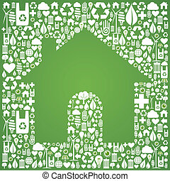 Green house over eco icons background