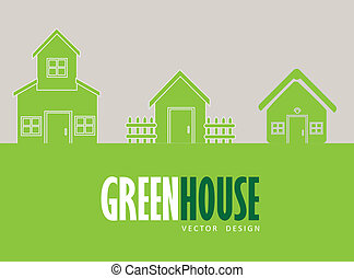 green house over gray background vector illustration