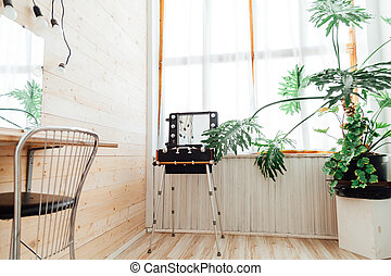 green house plant in the interior of the make-up dressing room
