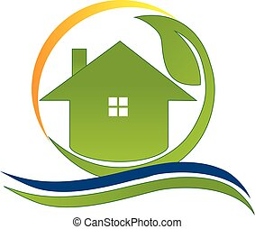 Green house real estate logo
