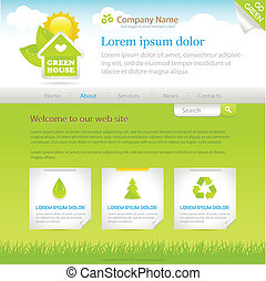 Green House. Web site design template, vector