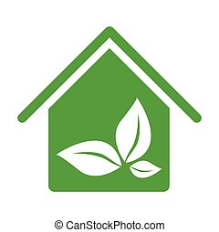 green house with leaves inside icon