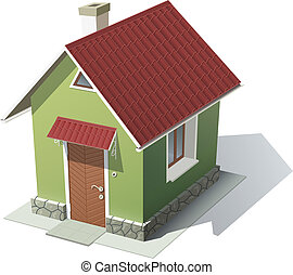 green house with red roof vector illustration isolated on...