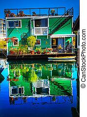 Green Houseboat Floating Home Village Fisherman's Wharf Reflecti