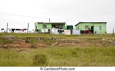 Green houses of poor in Transkei South Africa corrigated...