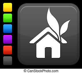 green housing icon on square internet button