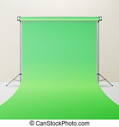 Green Hromakey Vector. Realistic 3D Template Mock Up. Isolated Illustration.