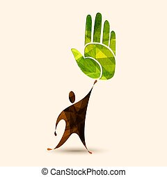 Green human hand concept for environment help