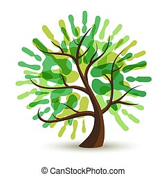 Green human hand print tree for ecology help