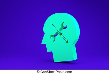 Green Human head with with screwdriver and wrench icon isolated on blue background. Artificial intelligence. Symbol work of brain. Minimalism concept. 3d illustration 3D render
