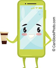 Green humanized smartphone holding coffee cup. Mobile phone with adorable face. Cartoon character. Flat vector icon