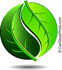 Green Icon - Green logo concept using Yin Yang in a leaf...