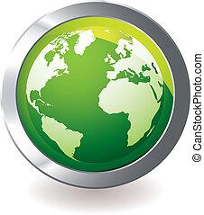green icon earth globe - Green earth globe icon with silver ...