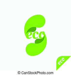Green icon of ecology. Eco logo on a light background