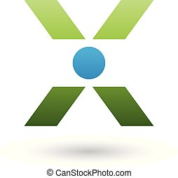 Green Icon of Letter X with a Circle Vector Illustration