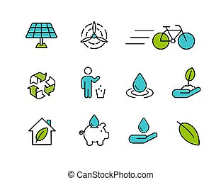 Green icon set in outline style for nature care