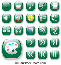 Green Icons, Digital Media Art Set