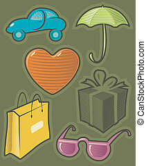 Green icons for shopping