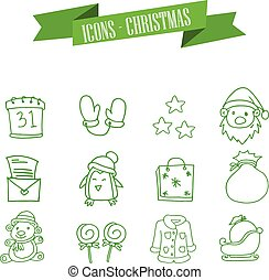 Green icons of Christmas collection
