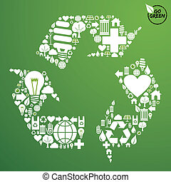 Green icons set in recycle symbol - Go green icons set in ...