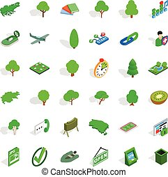 Green icons set, isometric style