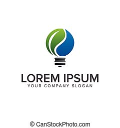 green idea bulb logo design concept template