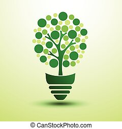 Green idea - Ecology idea green light bulb with tree vector...