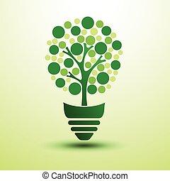 Green idea - Ecology idea green light bulb with tree vector ...