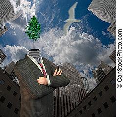 Green idea man in city
