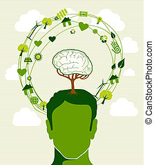 Human head, tree brain green icons recycling ideas. This illustration is layered for easy manipulation and custom coloring