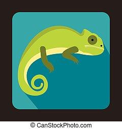 Green iguana icon, flat style