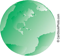 Green globe illustration of the earth in vector format