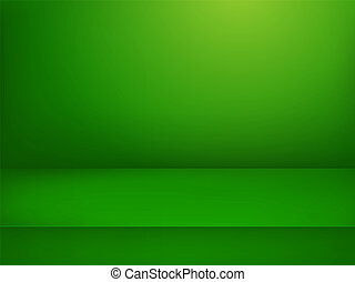 Green illuminated stage. Vector illustration. Advertising template