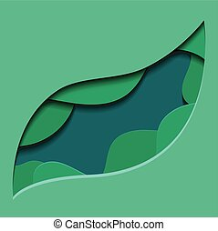 Green illustration of 3d tree leaf cut out from paper.