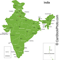 Green India map - India map with states and capital cities