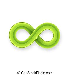 Green infinity symbol icon from glossy wire with shadow
