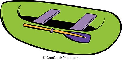 Green inflatable boat icon, icon cartoon - Green inflatable...