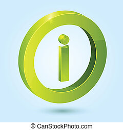 Green info symbol isolated on blue background