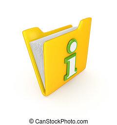 Green Info symbol on a yellow folder.