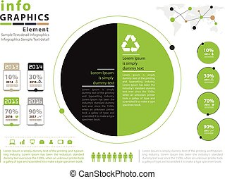 Green infographic vector template design