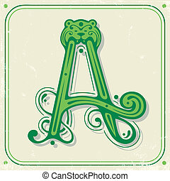 Green initial A - Illustration of green initial A on a old...
