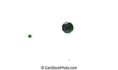 green ink droplet falls on the white surface. 3d render...