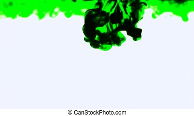 Green Ink In Water - Green ink in water White Background