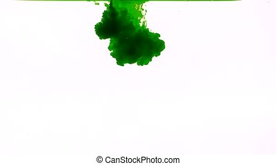 Green ink in water on a white background