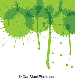 Green ink splashes vector background ecology concept card - ...