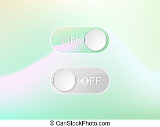 Green interface icon On and Off Toggle switch holographic art button