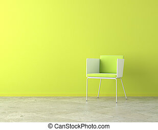 green interior copy space - green simple interior with chair...