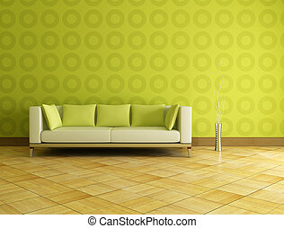 white and green couch in front a geometrical wallpaer