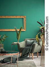 Green interior with golden elements