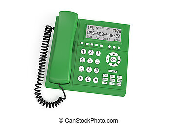 green IP Telephone - green IP Telephone isolated on white...
